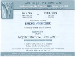 Berksan has been selected to receive the Award in the Gold Catagory 2016 by WQC, World Quality Commitment